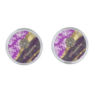 Personalized  pretty girly purple damask pattern silver finish cuff links