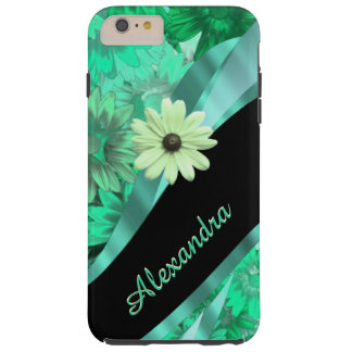 Personalized pretty green floral pattern tough iPhone 6 plus case