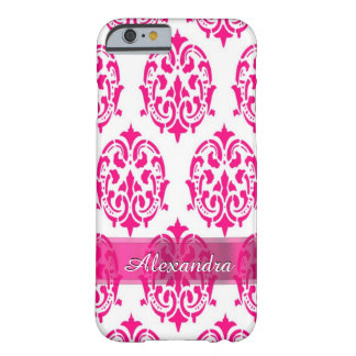 Personalized pretty hot pink and white damask barely there iPhone 6 case