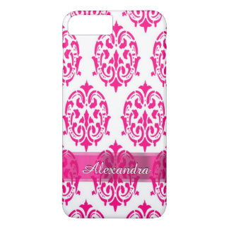 Personalized pretty hot pink and white damask iPhone 8 plus/7 plus case