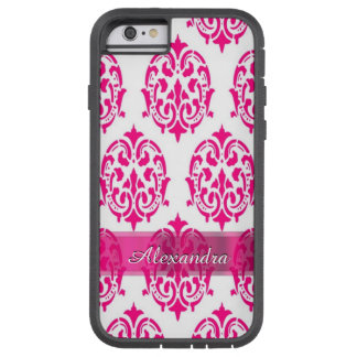 Personalized pretty hot pink and white damask tough xtreme iPhone 6 case