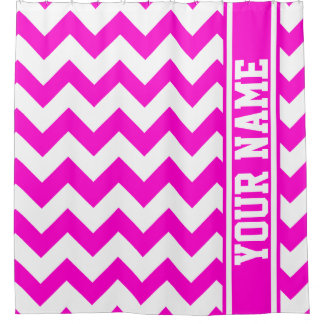 Personalized Pretty In Hot Pink Chevron Pattern Shower Curtain