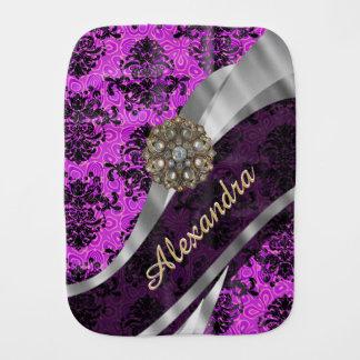 Personalized pretty magenta girly damask pattern burp cloth