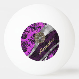 Personalized pretty magenta girly damask pattern ping pong ball