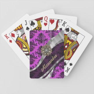 Personalized pretty magenta girly damask pattern playing cards