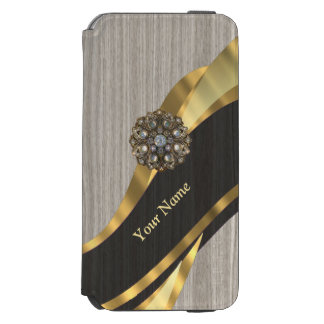 Personalized pretty modern faux wood incipio watson™ iPhone 6 wallet case