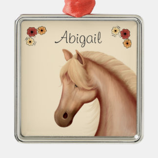 Personalized Pretty Palomino and Flowers Horse Christmas Ornament