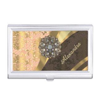 Personalized pretty peach girly damask pattern business card holder