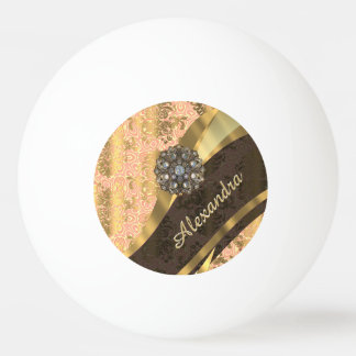 Personalized pretty peach girly damask pattern ping pong ball