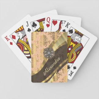 Personalized pretty peach girly damask pattern playing cards