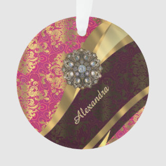 Personalized pretty pink damask pattern ornament