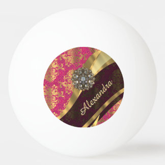 Personalized pretty pink damask pattern ping pong ball
