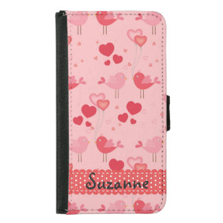 Personalized Pretty Pink Love Birds Hearts Pattern Samsung Galaxy S5 Wallet Case