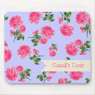 Personalized pretty pink roses / flowers on purple mouse pad