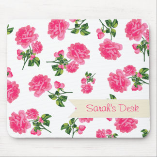 Personalized pretty pink roses / flowers on white mouse pad