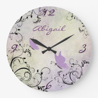 Personalized Pretty Purple Butterfly and Vines Wallclocks