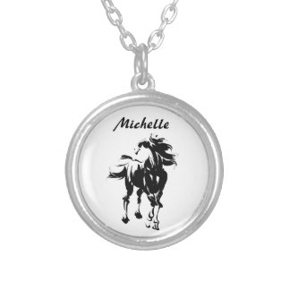 Personalized Pretty Silhouette Horse Black ~ White Silver Plated Necklace
