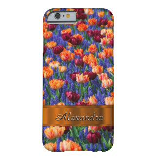 Personalized pretty tulip flower field barely there iPhone 6 case