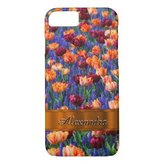 Personalized pretty tulip flower field iPhone 8/7 case