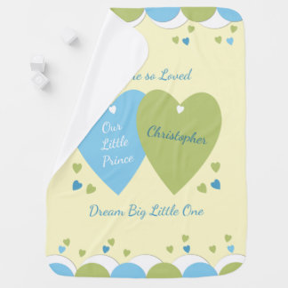 Personalized Prince blue and green baby Baby Blanket