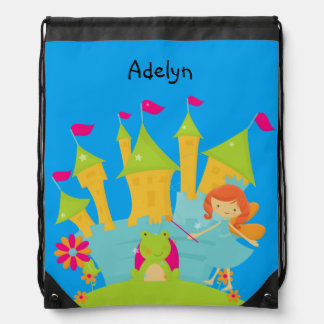 Personalized Princess and Castle Drawstring Bag