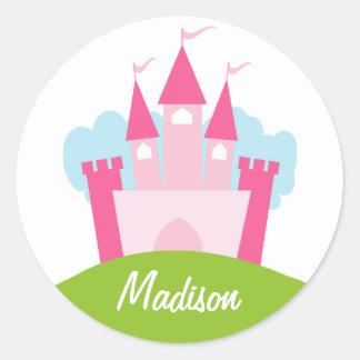 Personalized Princess Castle Round Sticker