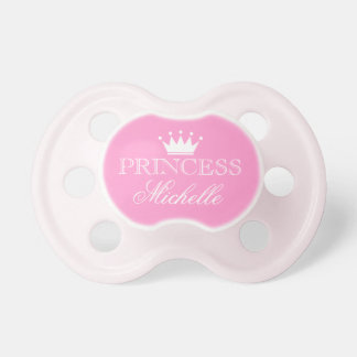 Personalized princess pacifier with name and crown