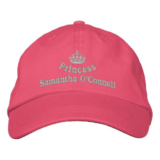 Personalized princess with royal crown embroidered hat