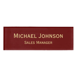 Personalized Professional Elegant Faux Gold Maroon Name Tag