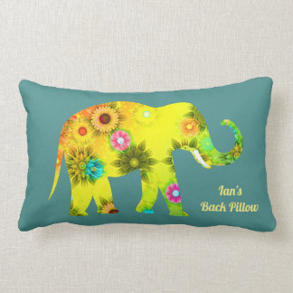 Personalized Psychedelic Floral Elephant Lumbar Cushion