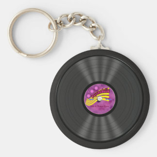 Personalized Psychedelic Vinyl Record Basic Round Button Key Ring