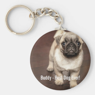 Personalized Pug Dog Photo and Your Pug Dog Name Key Ring