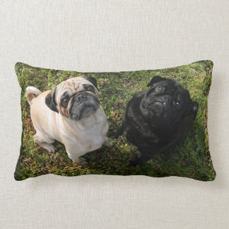 Personalized Pug Pillow, black and white Pugs, NEW Lumbar Cushion
