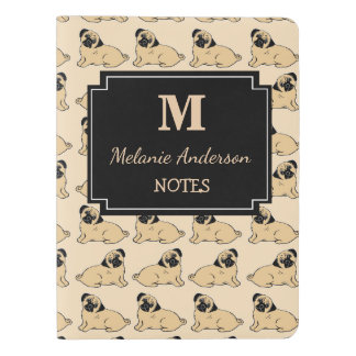 Personalized Pug Print Monogram Notebook