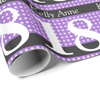 Personalized Purple 18th Birthday Pink Polka Dots Wrapping Paper