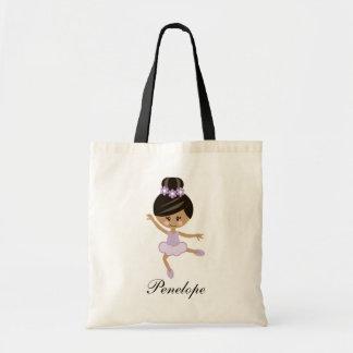Personalized Purple African American Ballerina Tote Bag