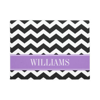 Personalized Purple and Black Chevron Doormat