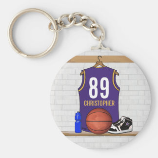 Personalized Purple and Gold Basketball Jersey Basic Round Button Key Ring