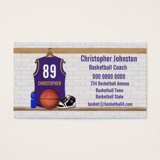 Personalized Purple and Gold Basketball Jersey Business Card