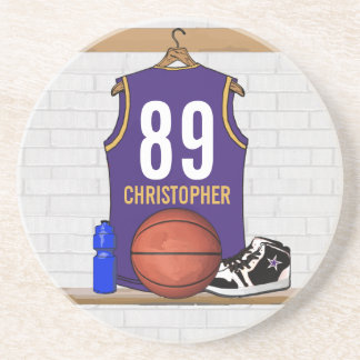 Personalized Purple and Gold Basketball Jersey Coaster