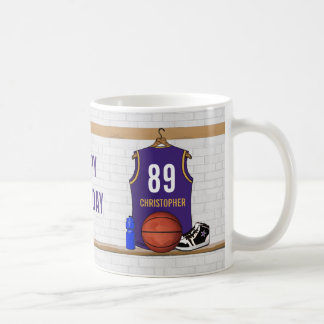 Personalized Purple and Gold Basketball Jersey Coffee Mug