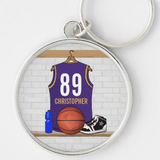Personalized Purple and Gold Basketball Jersey Silver-Colored Round Key Ring