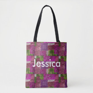Personalized Purple and Green Quilt Like Tote Bag