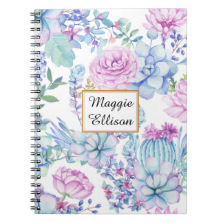 Personalized purple and Green Succulents on White Notebook