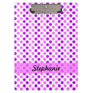 Personalized Purple and Pink Polka Dots Clipboard