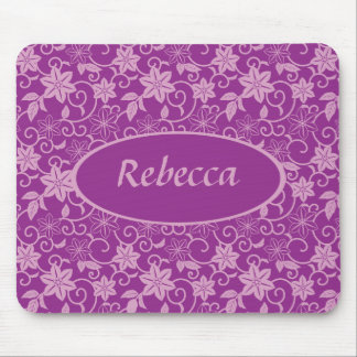 Personalized Purple and plum colored Floral patter Mouse Mat