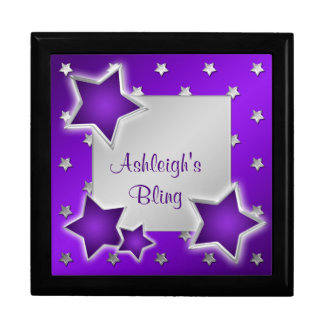 Personalized Purple and Silver Stars Trinket Box