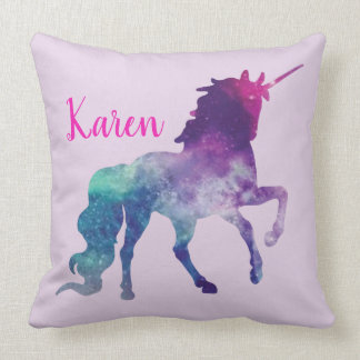 Personalized Purple and Turquoise Magical Unicorn Cushion