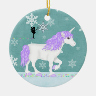 Personalized Purple and White Unicorn and Fairy Christmas Ornament