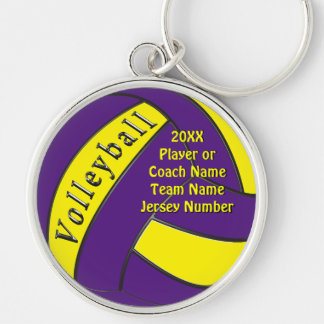 Personalized Purple and Yellow Volleyball Gifts Key Ring
